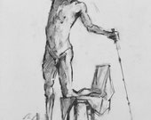 Original Figure Sketch - 17x14 Male Nude Charcoal Drawing by David Lloyd