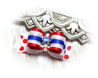 4th of July Dog Bow, USA Dog Hair Bow, Independence Day Dog Bows