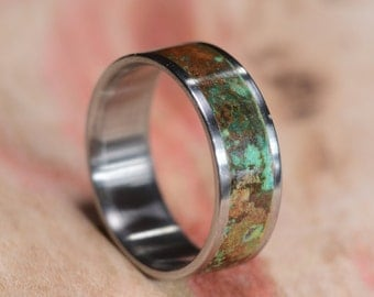 Titanium Ring, Copper Ring, Copper Inlay Ring, Patina Copper Ring, Wedding Ring, Mens Ring, Womens Ring, Handmade Ring, Wedding Band,