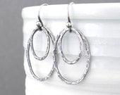Modern Silver Earrings Oval Earrings Silver Drop Earrings Handmade Silver Jewelry Rustic Jewelry Gift for Women - Shimmer Layers