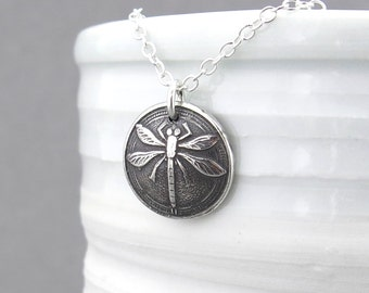 Dragonfly Necklace Silver Necklace Pendant Boho Chic Necklace Tiny Circle Necklace Insect Bug Rustic Bohemian Handmade Jewelry