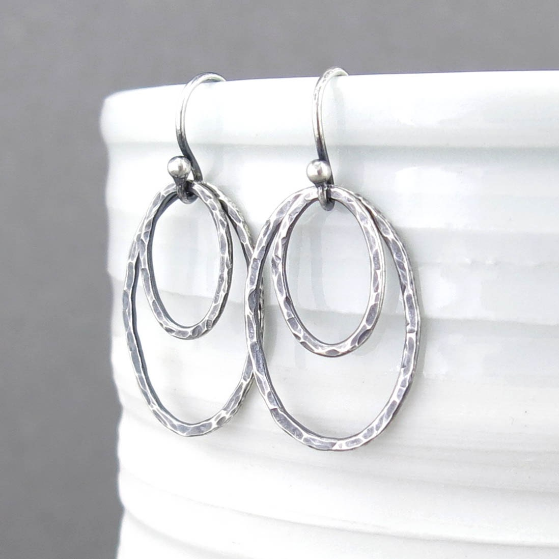 Contemporary Silvers: Modern Silver Earrings Oval Earrings Silver Drop Earrings