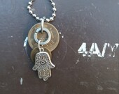Traveler's Talisman- Upcycled Hand of God Traveler's Protection Necklace- 5 Pesetas España