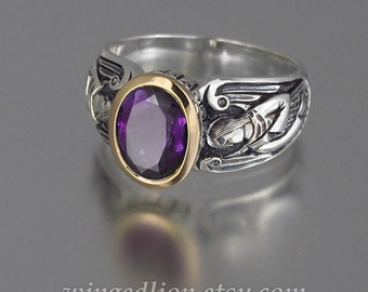 Guardian Angels silver 14K ring with Amethyst