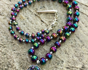Rainbow Peacock Gemstone Choker Necklace - Galactic Oil Slick Hematite Beaded Necklace w/ Druzy Geode Pendant - 17""