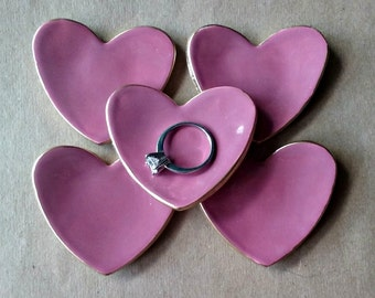 FIVE  Dusty Rose Ceramic Heart ring bowls itty bittys edged in gold