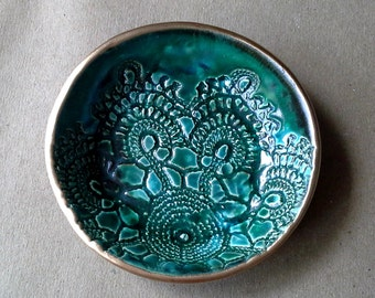 Ceramic Ring Bowl Trinket bowl Malachite green  Lace gold edged