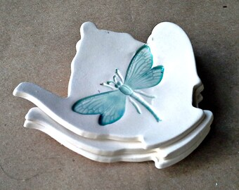 THREE Ceramic Teapot Tea bag Holders malachite green dragonfly