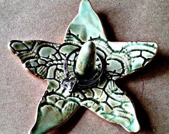 Small Ceramic Ring Holder Bowl Moss Green Starfish