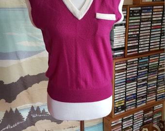 Vintage Magenta Sweater Vest with Ivory Details M