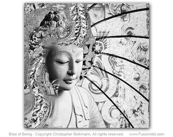 Bliss of Being - Buddha Art Canvas - Black and White Buddhist Print - Zen Wall Art by Christopher Beikmann