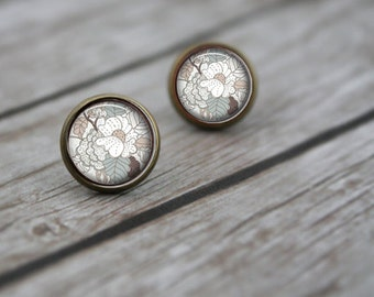Pastel Nature Floral Leaf Print. Flower Post Earrings. Stud Post Earrings. Gifts for Her. Silver or Brass - IN BLOOM