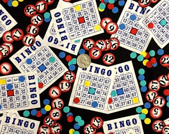 BINGO CARD Fabric - Shamash & Sons Bingo Cards Chips - Make Your Own Dauber Bag