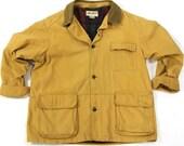 80s Eddie Bauer Field Jacket / Vintage 1980 Canvas Hunting Jacket Barn Coat Sportsman Flannel Lining Corduroy Collar Cargo Pocket Mens Large