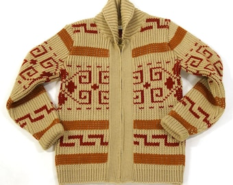 60s Cowichan Sweater / Vintage 1960s Hand Knit Blanket Cardigan / Zip Up Thick Soft Wool / Chunky Ethnic Hippie Boho South American