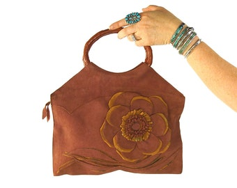 1920s Suede Flapper Purse / Antique 20s Leather Handbag with 3D & Applique Flower / Made in Canada / Art Deco / Art Nouveau Small Tote Bag