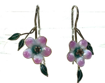 Sterling Silver and Enamel Earrings Chinese Export / Vintage 1970s Cloisonne Figural Flower Dangle Earrings for Pierced Ears