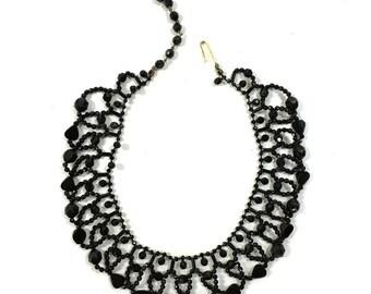 West German Jet Glass Necklace / Vintage 1950s Jet Black Beaded Necklace / Adjustable Choaker / Knotted Beads