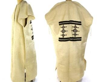 Woven Blanket Poncho / Vintage 1970s Boho Maxi Length Mexican Serape / Bohemian Ethnic Hippie Folk Handwoven Wool Caftan