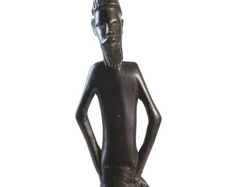 Vintage African Tribal Art Carved Wood Figurine, 13 Inch Tall Man Statue