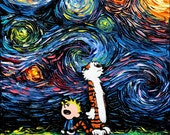Calvin and Hobbes Art - Starry Night Giclee print What If van Gogh Had An Imaginary Friend by Aja 8x8, 10x10, 12x12, 20x20, and 24x24 choose