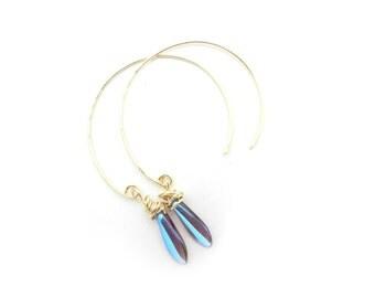 Brass Threaded Hoops, Brass Earrings, Brass Dangle Earrings, Brass Drop Earrings, Gold Threaded Hoops, Artisan Made by Durango Rose