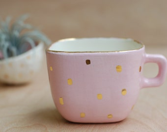 Small Pink and Gold Ceramic Cup - Ceramics and Pottery - Modern Ceramics - Vintage Colors