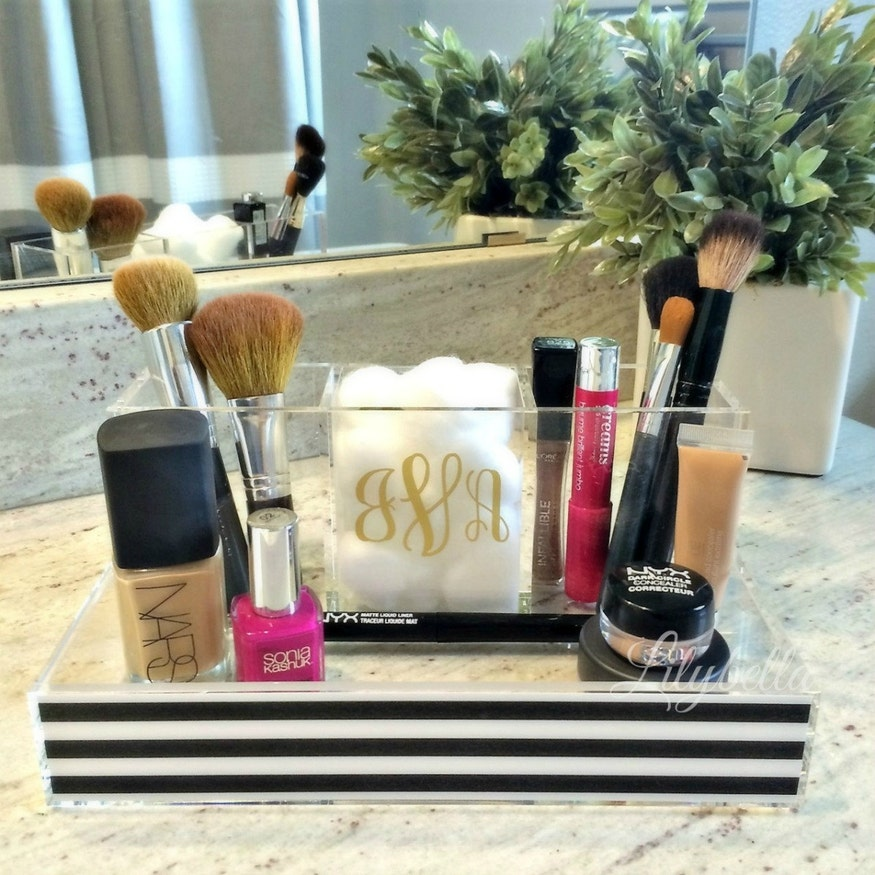 black and white stripe acrylic makeup organizer