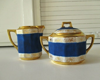 Antique C.T. Altwasser Silesia Sugar Bowl with Lid and Creamer, Hand painted Wedding Gift