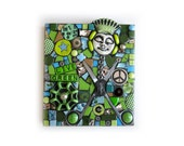 Live Green. (Original Handmade Mixed Media Mosaic Assemblage by Shawn DuBois)