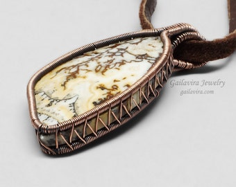 Copper and Australian Crazy Lace Agate Necklace Pendant