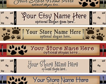 Primitive Folk Art Whimsical Cats Kitty Dogs Paw Prints Pets - Premade ETSY Shop Banner Design - Matching SHOP ICON