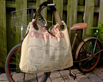 Rose Red Poultry Feed - Minnesota - Open Tote - Americana OOAK Canvas & Leather Tote W... Selina Vaughan Studios