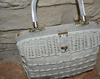 MID-CENTURY WICKER - vintage 50s 60s white wicker lucite basket box bag purse - large
