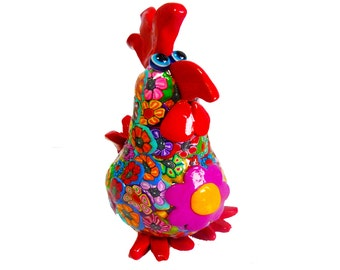 yellow  chicken sculpture, animal Collectibles, animal sculpture, polymer clay, handmade, home design