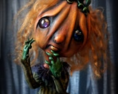 Loopy Creepy Cute Gothic Art Doll Dark Goth Pouty Penny Pumpkin