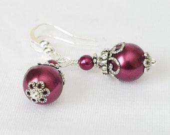 Bridesmaid Jewelry Sangria Plum  Glass Pearl Earrings Jewelry Bridesmaids Gift Set Bridal Wedding Pearl Drop Dangle Earrings