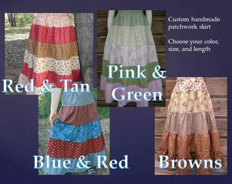 Patchwork skirt ladies tiered cotton florals S-M-L-XL-1X-2X-3X choose size & color