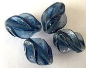 Vintage Japanese  beads (2+) glass fin twist Denim blue Montana blue Fin shape swirl Art Glass beads Japan  Cherry Brand approx 18mm (2+)