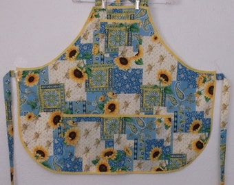 Sunflowers and Paisley on a Patchwork Background #2087