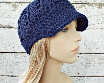 Crochet Hat Womens Hat Blue Hat Blue Newsboy Hat - Pippa Swirl Hat in Night Sky Navy Blue - Blue Beanie Womens Accessories - READY TO SHIP