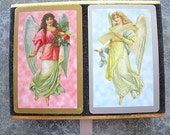 Vintage Playing Cards GUARDIAN ANGELS Congress Two-Deck Bridge Set complete in original box