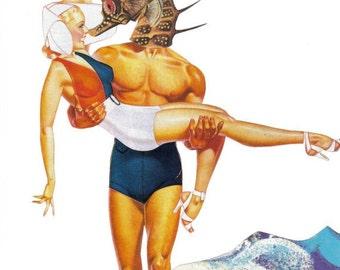 Original Mixed Media Collage Art on Paper, Seahorse Wall Art Beach Artwork, Summer Love Lifeguard Ocean Theme Nautical Sea Life Seahorse Art
