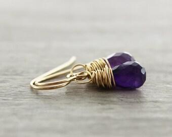 Purple Amethyst Earrings, Amethyst Gemstone Earrings, Teardrop Dangle Earrings, Gold Filled Earrings, Small Drop Earrings, Wire Wrapped