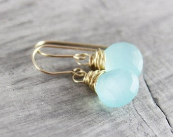 Light Aqua Gemstone Earrings, Blue Dangle Earrings, Gold Filled Earrings, Chalcedony Drop Earrings, Wire Wrap Earrings, Sky Blue Earrings