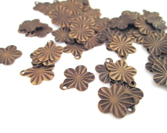50 brass flower charms, LAST IN STOCK, on sale, A155