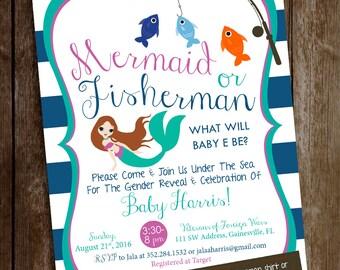 Gender Reveal Invitation - Boy or Girl Invite - Mermaid or Fisherman Gender Reveal Party - Baby Reveal Invitation - Mermaid or Fisherman