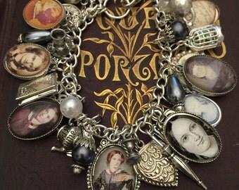Charm Bracelet Charlotte Bronte, Charlotte Bronte, Charlotte Bronte Bracelet, Charm Bracelet, Silver Charm Bracelet,Charlotte Charm Bracelet