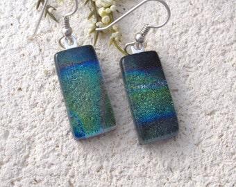 Green Blue Earrings, Dangle Drop Earring, Dichroic Earrings, Fused Glass Earrings, Dichroic Glass Jewelry, Sterling Silver, 091816e101
