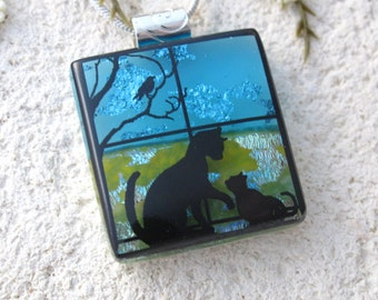 Petite Cat Necklace, Cat Jewelry, Fused Glass Jewelry, Cat Pendant, Dichroic Jewelry, Glass Necklace, Dichroic, Silver Necklace,  101716p105